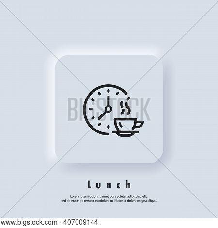 Time For Lunch. Lunch Icon. Meal Breaks Icon. Time Break. Dinner. Food Time Logo. Vector. Ui Icon. N