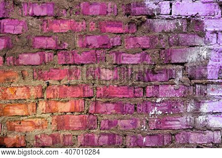 Vivid Pink Purple Orange Brick Material Background. Art Color Urban Street Wall. Painted Bright Plas