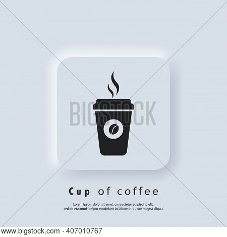 Coffee Shop Logo. Hot Coffee Cup Icon. Disposable Coffee Cup Icon With Beans Logo. Paper Mug. Vector