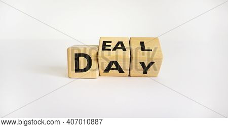 Deal Of The Day Symbol. Turned Wooden Cubes And Changed The Word 'day' To 'deal'. Beautiful White Ba