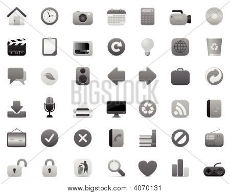 Gray Icon Set (multimedia, Internet And Office)
