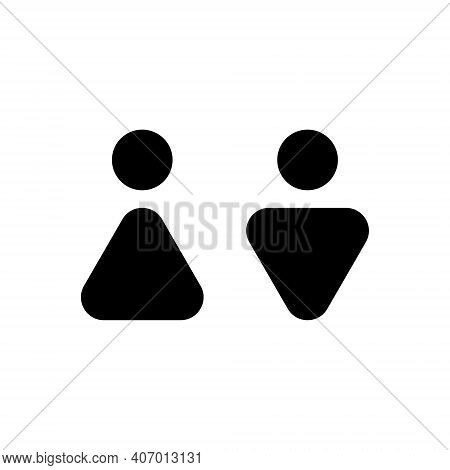 Man And Woman Abstract Icon. Male And Female Sign For Restroom. Girl And Boy Wc Pictogram For Bathro
