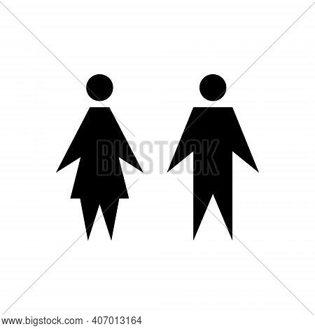 Man And Woman Icon. Girl And Boy Wc Pictogram For Bathroom. Male And Female Sign For Restroom. Vecto
