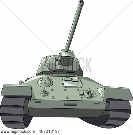 Medium Soviet Tank Of The Second World War Isolated On White Background. Front View.