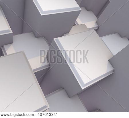 3D render of a modern abstract background with bevelled extruding cubes