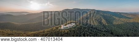 Aerial Panoramic View Of Oltar Domovine Ston Fortress Castle On Top Of Zagreb Uptown Hill