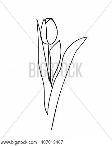 Tulip Flower Icon. Continuous One Line Drawing. - Vector Illustration