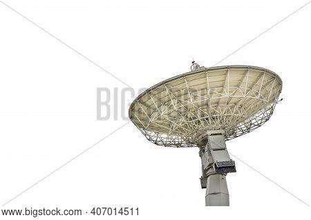 High Technology Large Satellite Dish Radar Or Radio Telescopes Station Isolated On White Background