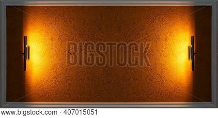 A Blank For Inserting Information. Yellow Texture Background In A Horizontal Frame With Lighting Fix