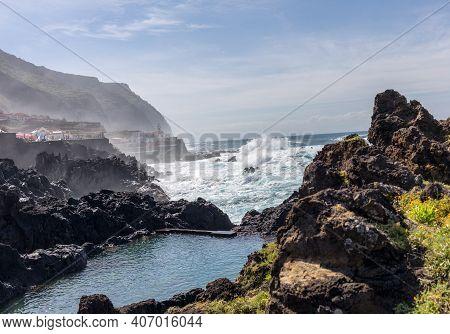 Porto Moniz, Portugal -  April 18, 2018: Coastline In Porto Moniz On Madeira Island. Portugal