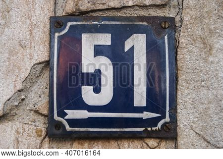 Weathered Grunge Square Metal Enamelled Plate Of Number Of Street Address With Number 51