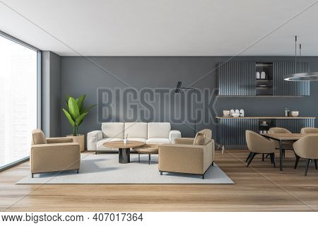 Grey Living Room With Beige Sofa And Armchairs, Coffee Table On Carpet, Parquet Floor. Living Room W