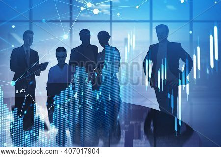 Business People Working In A Modern Office With Panoramic Windows. Cityscape Downtown Background. Co