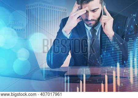 Business Man Or Stock Trader Analyzing Stock Graph Chart By Fibonacci Indicator, Front View Business