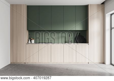 Wooden Green Kitchen Room With Kitchen Set With Shelves, Kitchen Appliances And Stove On Marble Floo