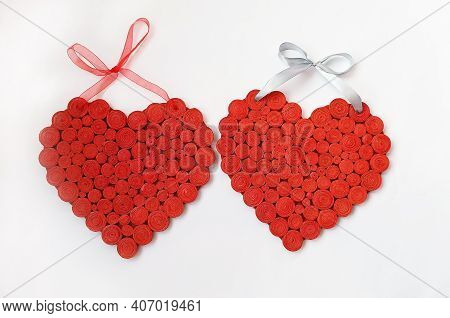 Red Heart On White Background. Symbols Of Love. Lovers Sign. Two Handmade Hearts On White Background