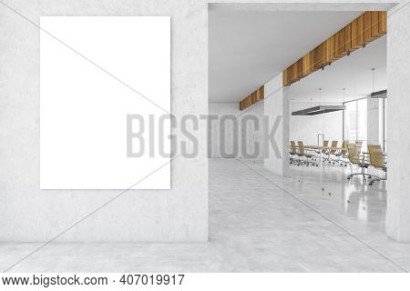 Mockup Canvas On Marble Wall, White Business Office Room With Conference Room Behind Glass Doors. Li