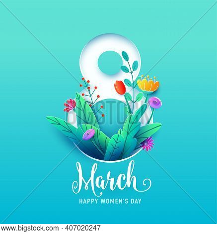 8 March, Happy Womens Day Greeting Card Vector Illustration In 3d Paper Cut Style. Number Eight With