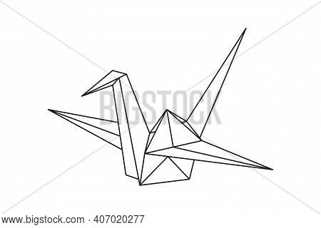 Origami Paper Crane Bird. Geometric Line Shape For Art Of Folded Paper. Japanese Origami. Vector Ill
