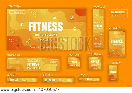 Collection Web Banners Different Sizes For Mobile And Social Networks, Poster, Shopping Ads, Marketi