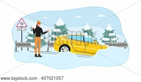 Female Character Got Her Car Skidded On A Slippery Snowy Road. Woman In Standing Near Car In Shock W