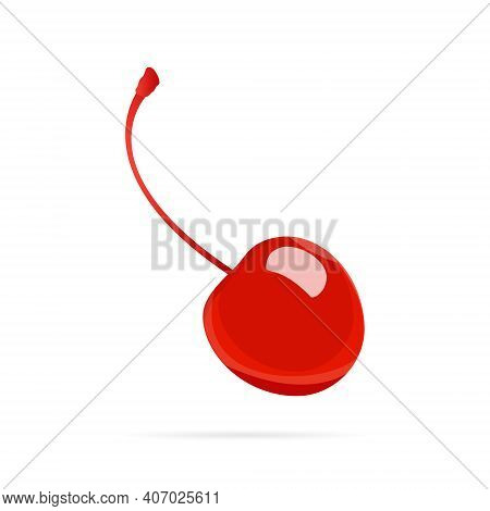 Cocktail Cherry Maraschino With Stem, Vector Flat Style Icon On White Background