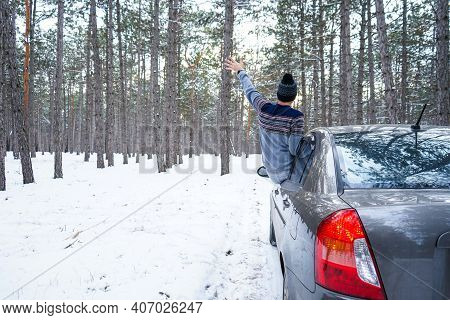 Image Of A White Winter Mood. Car On A Winter Road In The Forest. Road Trip Concept.