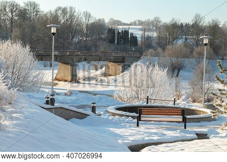 Winter View In The Park. Walk In The Fresh Air During The Winter