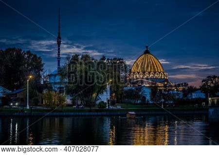 Moscow, Russia - 10 October 2020: Pavilion Of The Museum Of Cosmonautics At Vdnkh. Night Landscape O