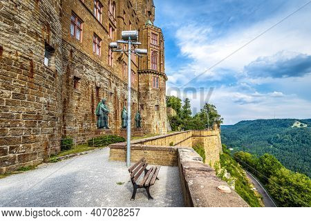 Hohenzollern Castle Close-up, Germany, Europe. This Great Castle On Mountain Top Is Famous Landmark