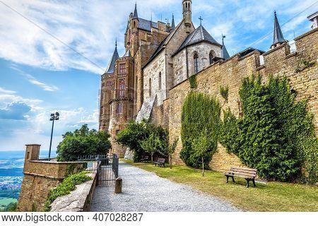 Hohenzollern Castle, Germany, Europe. This Castle On Mountain Top Is Famous Landmark In Stuttgart Vi