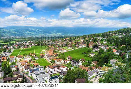 Panorama Of Vaduz, Principality Of Liechtenstein. Scenic Aerial View Of City In Swiss Alps. Landscap