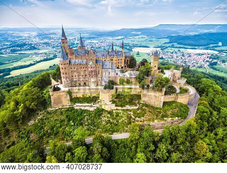 Hohenzollern Castle On Mountain Top, Aerial View Of Old German Burg In Summer, Germany. This Fairyta