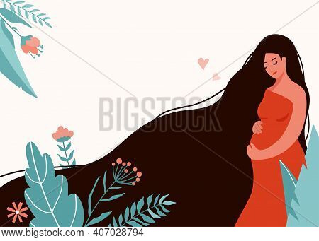 Pregnant Woman Banner Vector Illustration. Pregnancy, Childbirth Design Concept With Beautiful Girl