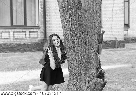 Passionate About Studying Zoology. Happy Child Show Peace Sign. Red Squirrel Climb Tree Trunk. Anima