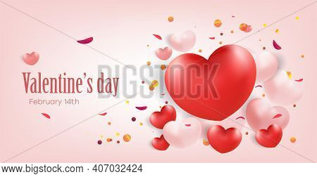 Festive Background With Valentine S Day. Banners With Pink And Red Hearts, Poster Template. Abstract