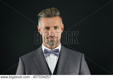 I Am Ready. Gentleman Modern Style Barber. Barber Shop Concept. Beard And Mustache. Guy Well Groomed
