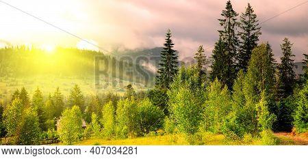 Carpathian Forest In Summer. Beautiful Blazing Sunset. Wide Photo.carpathian Mountains, Ukraine