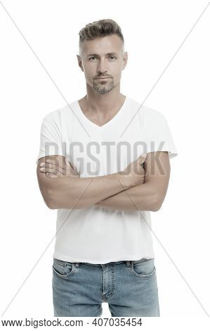 Perfect Casual Street Style. Handsome Man Keeping Arms Crossed In Casual Wear Isolated On White. Con