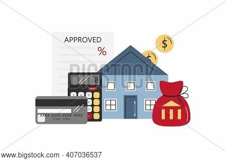 Vector Flat Mortgage Concept With Objects Isolated On White. Graphic Elements Of Buying House, Real