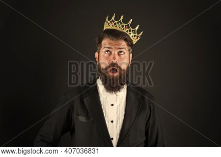 Sense Of Self Importance. Responsibility Being King. All What They Say Is True. Handsome Bearded Guy