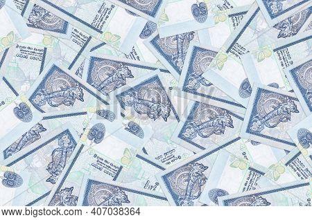 50 Sri Lankan Rupees Bills Lies In Big Pile. Rich Life Conceptual Background. Big Amount Of Money