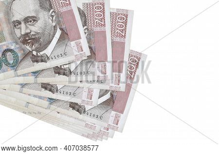 200 Croatian Kuna Bills Lies In Small Bunch Or Pack Isolated On White. Mockup With Copy Space. Busin