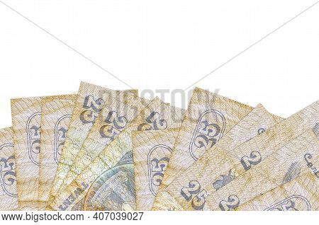 25 Egyptian Piastres Bills Lies On Bottom Side Of Screen Isolated On White Background With Copy Spac