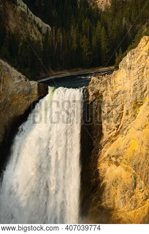 Close View Of The Lower Falls Of The Yellowstone River As It Plunges Into Yellowstone Canyon, Seen F