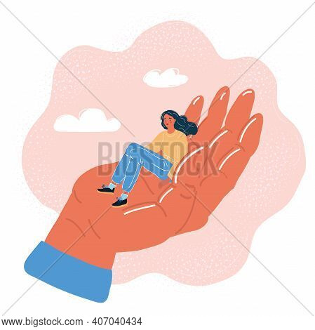 Vector Illustration Of Editable Vector Silhouette Of A Miniature Man In The Palm Of A Womans Hand Wi
