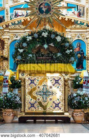 Interior Of An Orthodox Ukrainian Church. Iconostasis, Altar.