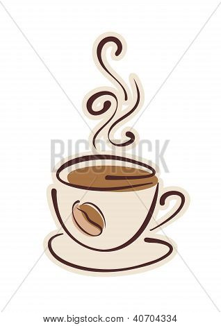 Cup Of Hot Coffee And Coffee Bean