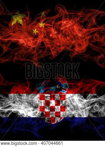 China, Chinese Vs Croatia, Croatian Smoky Mystic Flags Placed Side By Side. Thick Colored Silky Abst