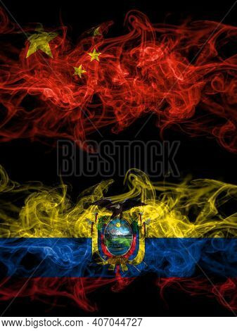 China, Chinese Vs Ecuador, Ecuadorian Smoky Mystic Flags Placed Side By Side. Thick Colored Silky Ab